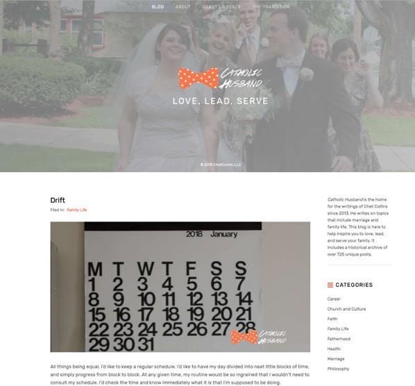 Catholichusband.com home page