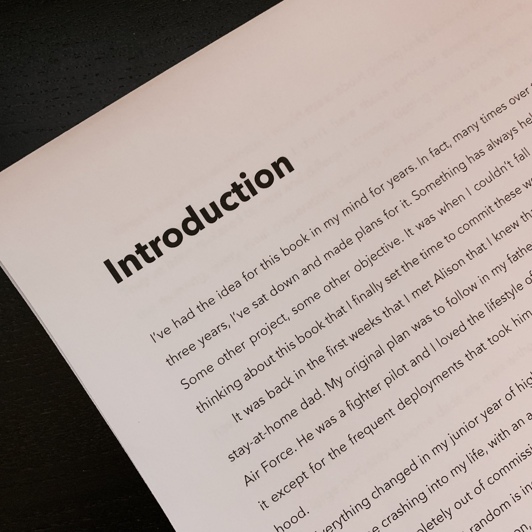 Printout of the first chapter of a new book
